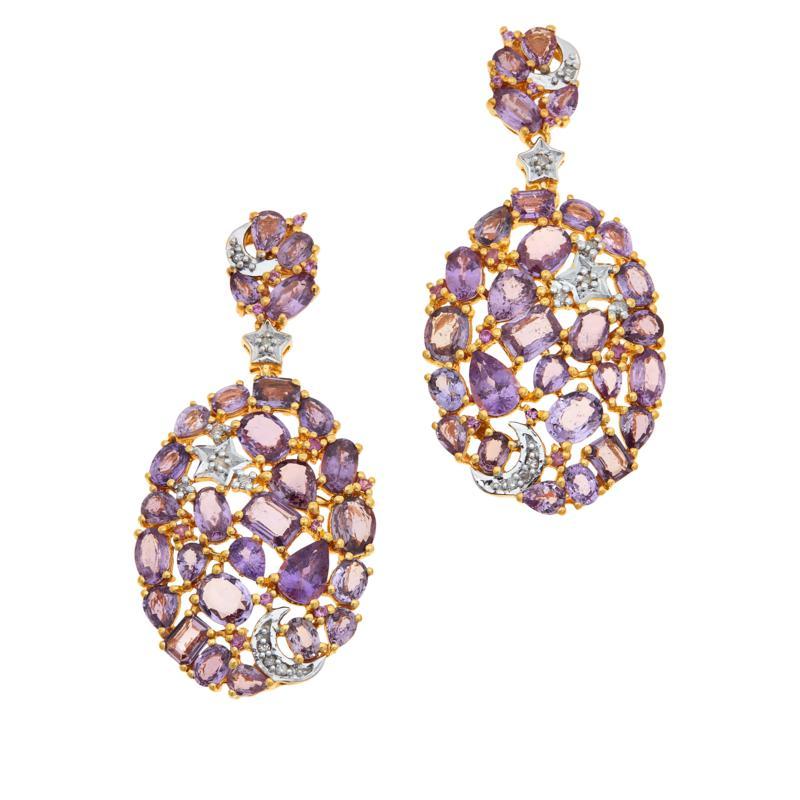 Rarities  Gold-Plated Purple & Pink Sapphire and Diamond Drop Earrings
