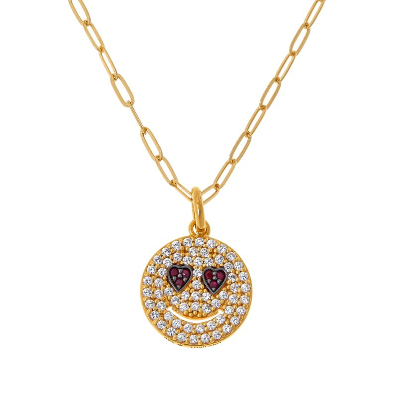 Rarities Gold-Plated Ruby and Zircon Smiley Face Pendant with Chain