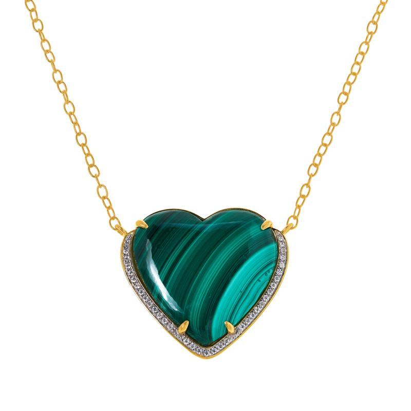 Rarities Gold-Plated Sterling Silver Malachite & Zircon Heart Necklace