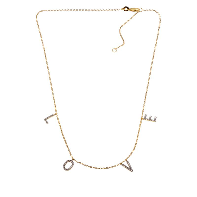 Rarities Gold-Plated Sterling Silver White Zircon LOVE Necklace