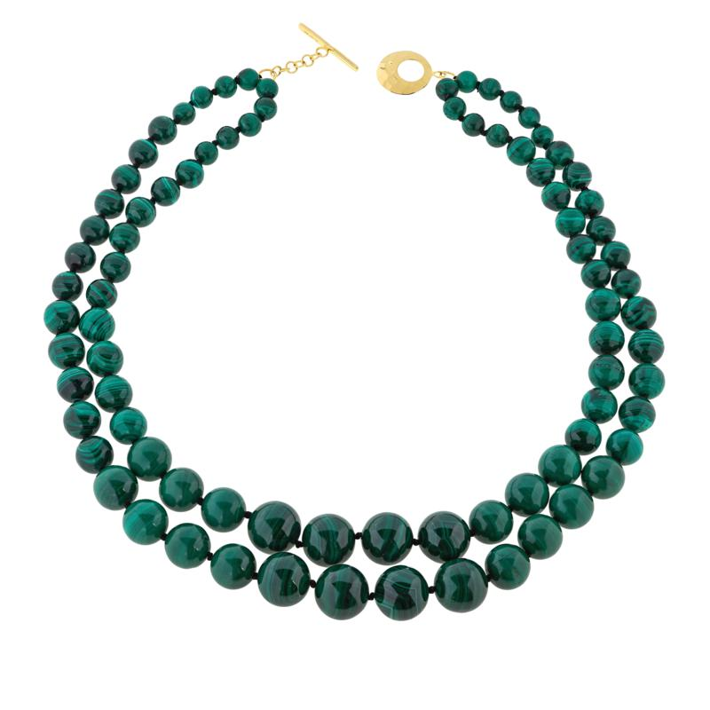 Rarities Malachite Bead Graduated 2-Strand Necklace with Toggle Clasp