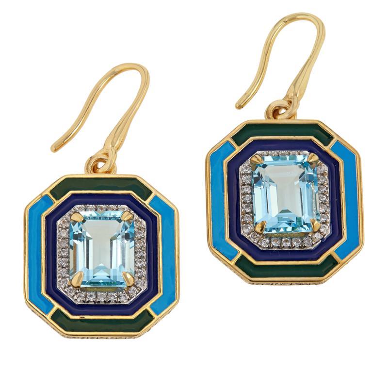 Rarities Sky Blue Topaz & White Zircon Octagonal Drop Earrings