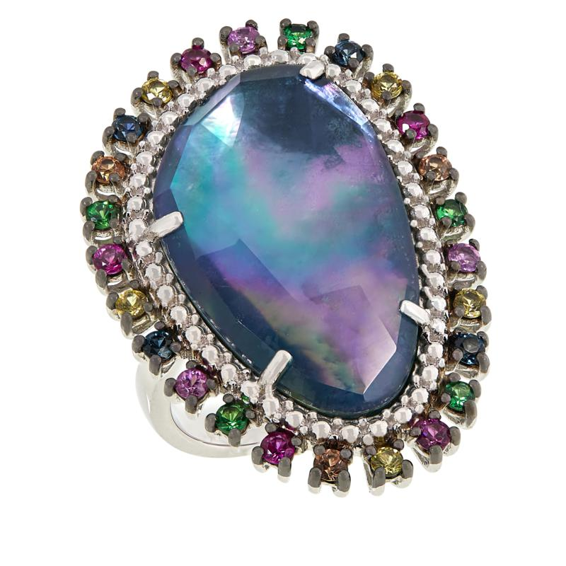 Rarities Sterling Silver Sapphire Doublet and Multi-Gem Ring