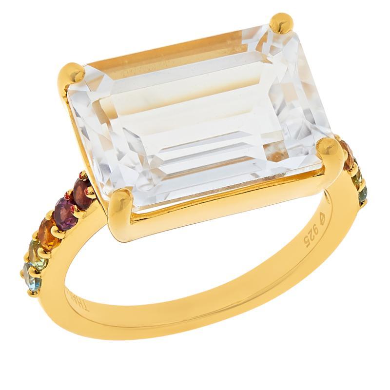 Rarities White Topaz and Rainbow Gemstones Octagonal Ring