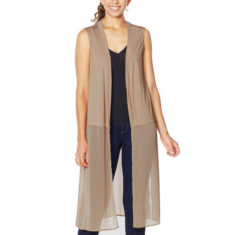 Rhonda Shear Mixed Media Duster Vest