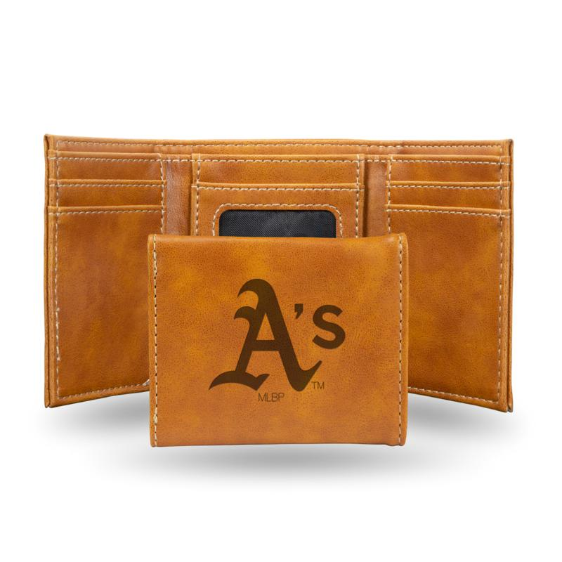 Rico Athletics Laser-Engraved Brown Trifold Wallet