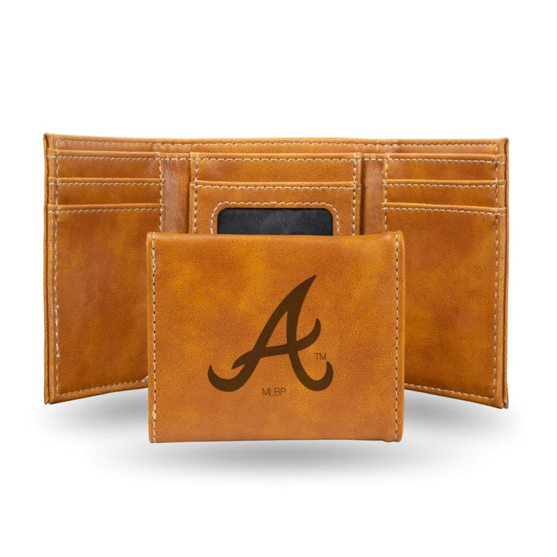 Rico Braves Laser-Engraved Brown Trifold Wallet