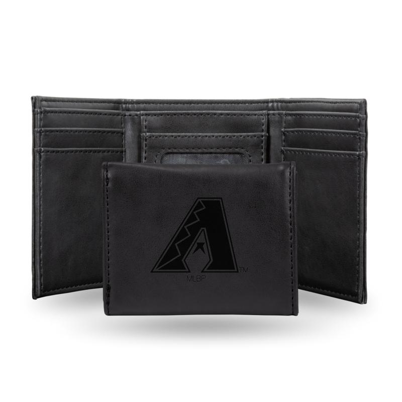 Rico Diamondbacks Laser-Engraved Black Trifold Wallet