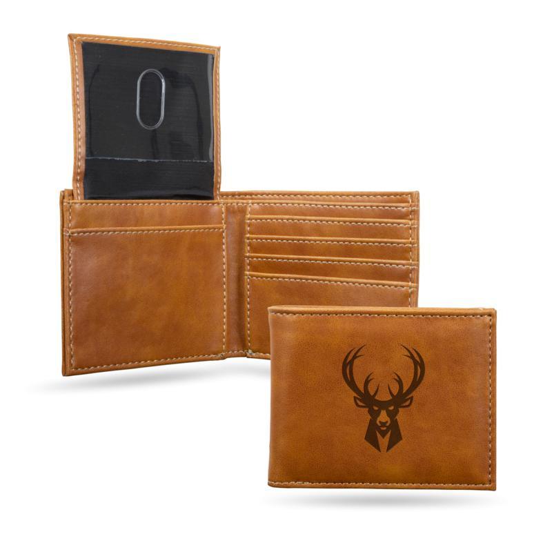 Rico NBA Laser-Engraved Brown Billfold Wallet - Bucks