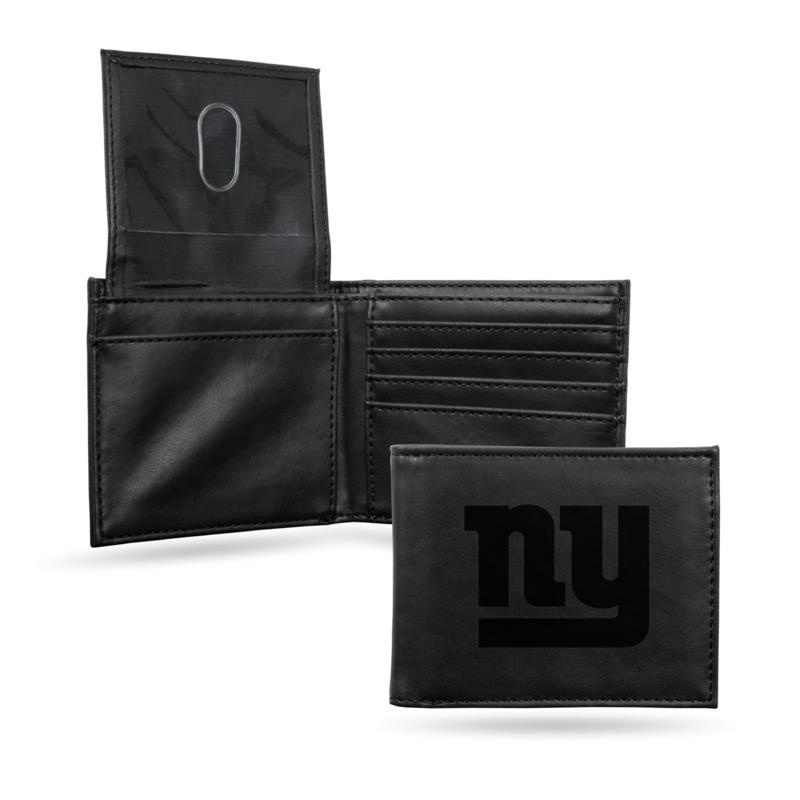 Rico NY Giants Laser-Engraved Black Billfold Wallet