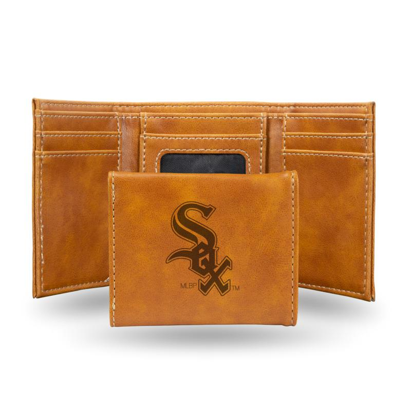Rico White Sox Laser-Engraved Brown Trifold Wallet