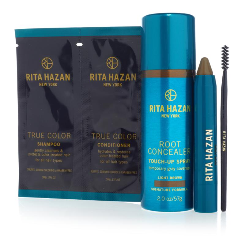 Rita Hazan Light Brown Root Concealer Spray and Stick Set