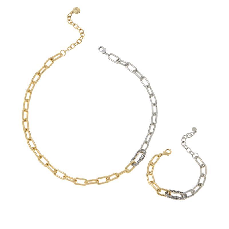 "R.J. Graziano ""Chain Connection"" Pavé Necklace and Bracelet Set"