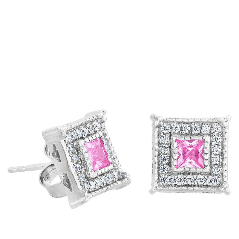 "Robert Manse ""Gem RoManse"" Pink and White CZ Square Stud Earrings"
