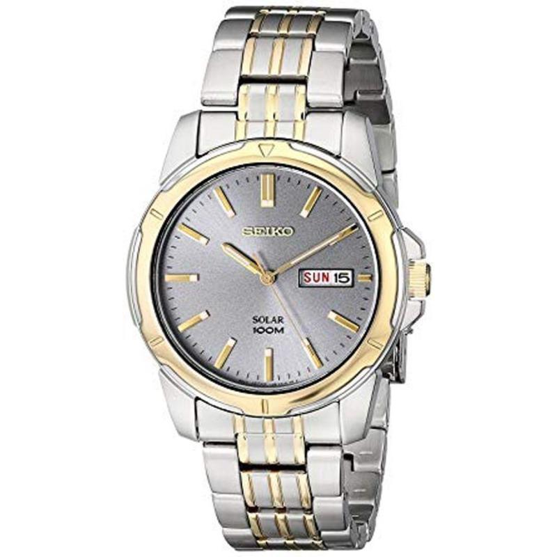 Seiko Men's Two-Tone Stainless Steel Gray Dial Solar Watch