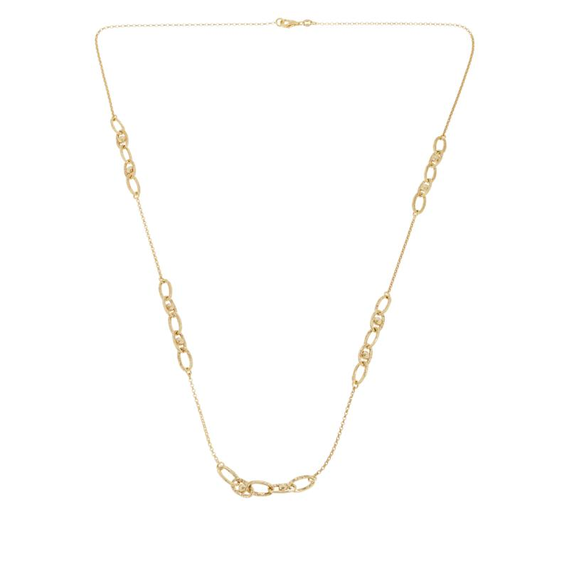 """Sevilla Silver™ 32"""" Gold-Plated Textured Link Station Necklace"""