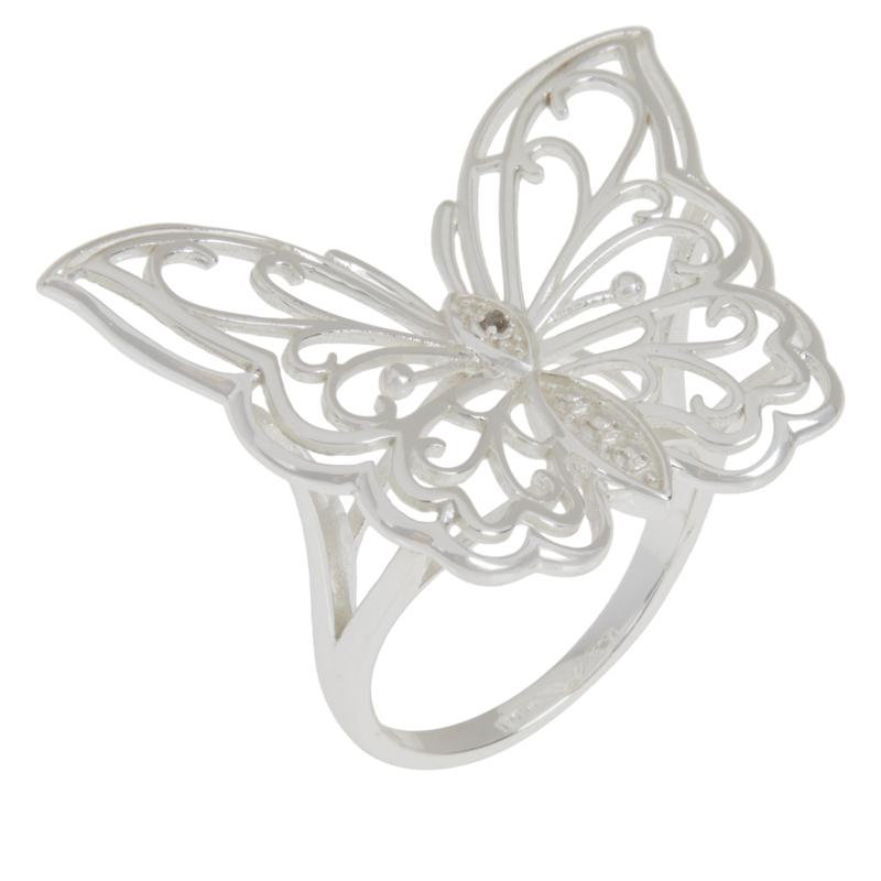 Sevilla Silver™ Diamond-Accented Filigree Butterfly Ring
