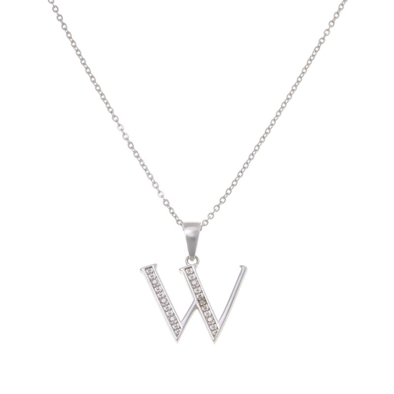 Sevilla Silver™ Diamond-Accented Initial Pendant with Chain