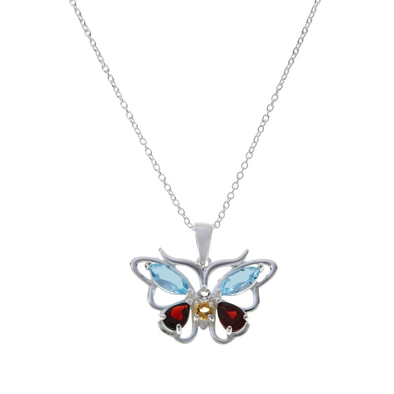 Sevilla Silver™ Gemstone Butterfly Pendant with Chain