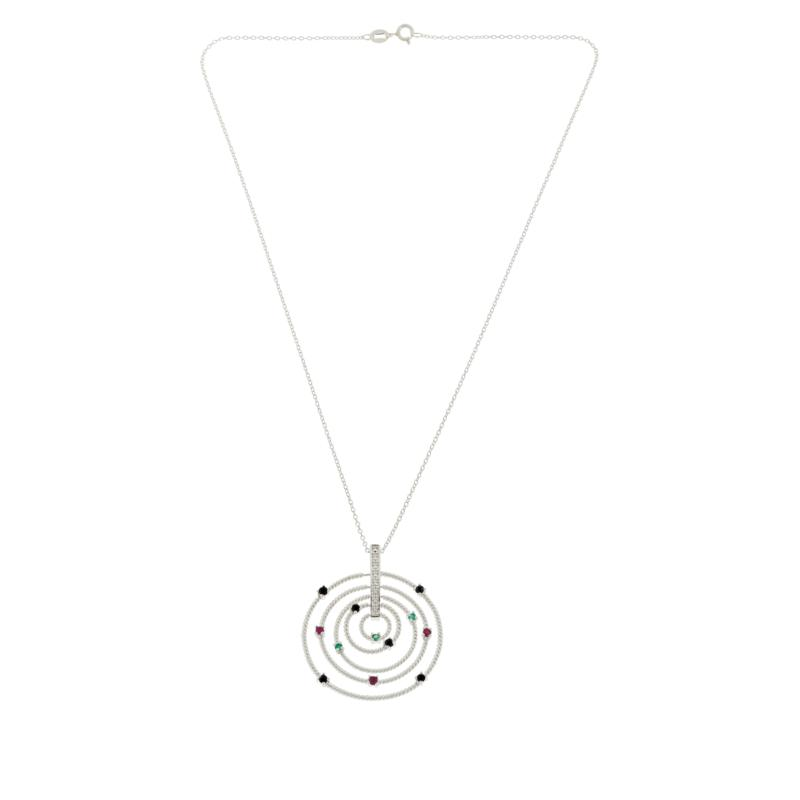 Sevilla Silver™ Gemstone Multi Circle Pendant with Chain