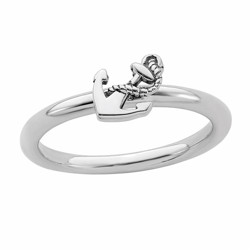 Simply Stacks™ Sterling Silver Antiqued Anchor Ring