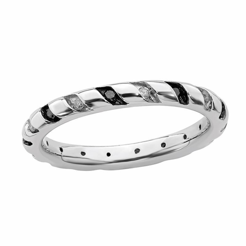 Simply Stacks™ Sterling Silver Black & White Diamond Eternity Band