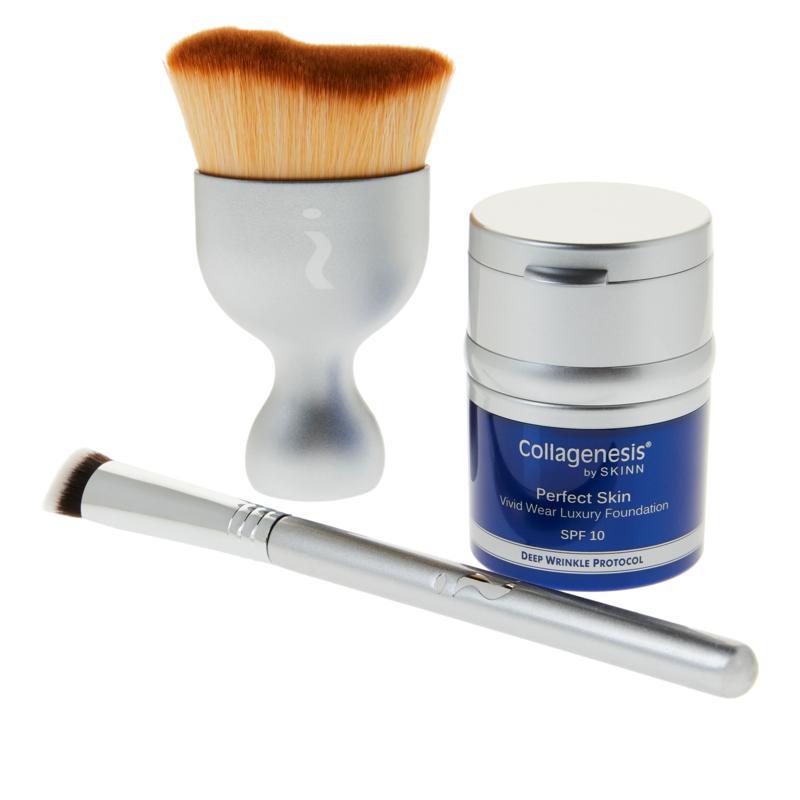 Skinn® Cosmetics Collagenesis®DWP Medium Foundation and Brush Set - AS