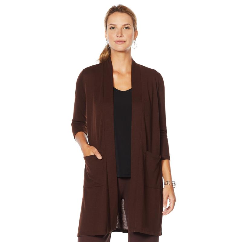 Slinky® Brand Solid Hacci Open Front Duster with Pockets