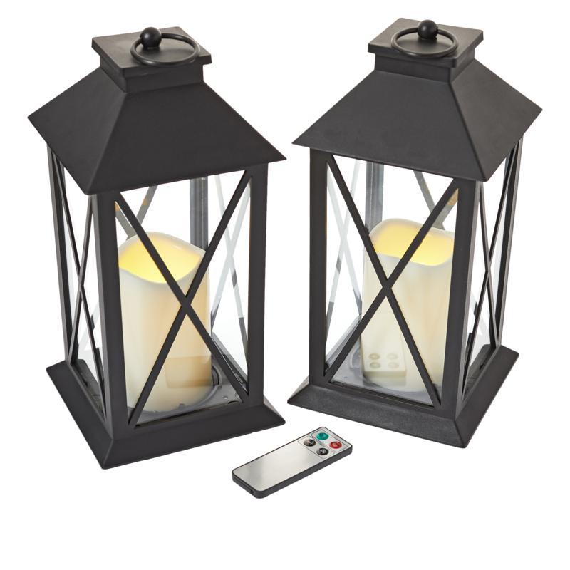 South Street Loft Set of 2 Large Lanterns with Remotes - Warm White