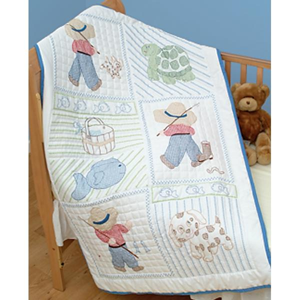 """Jack Dempsey Stamped White Quilt Crib Top 40/""""X60/""""-Once Upon A Time"""