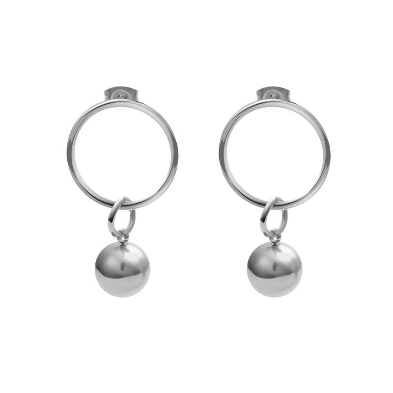 Stately Steel Ball Hoop Dangle Earrings