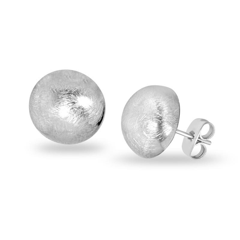 Stately Steel Brushed Metal Half-Ball Stud Earrings