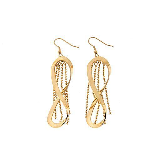 Stately Steel Figure-8 Fringe Drop Earrings