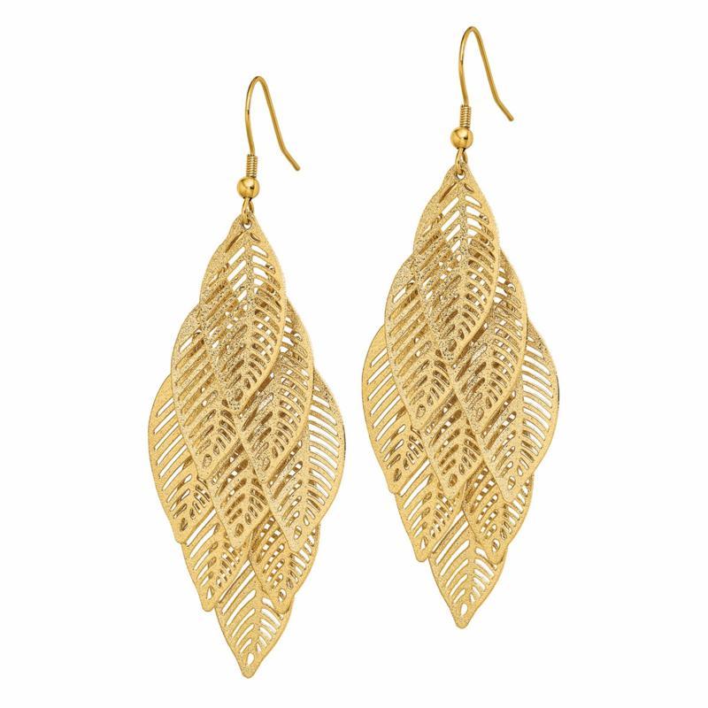 Stately Steel Leaves Dangle Earrings