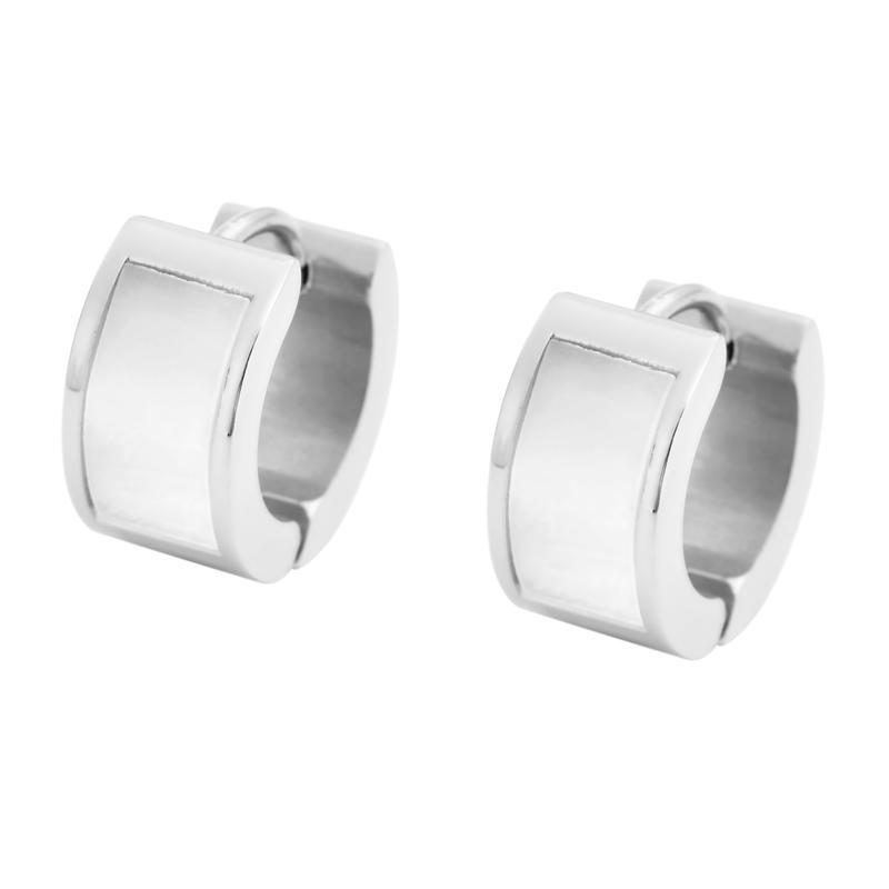 Stately Steel Mother-of-Pearl Huggie Hoop Earrings