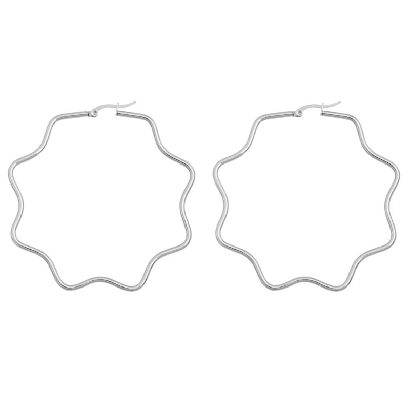 Stately Steel Wavy Hectogram Hoop Earrings - 2-3/8""