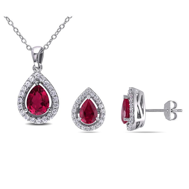 Sterling Created Ruby & White Sapphire Teardrop Pendant & Earrings
