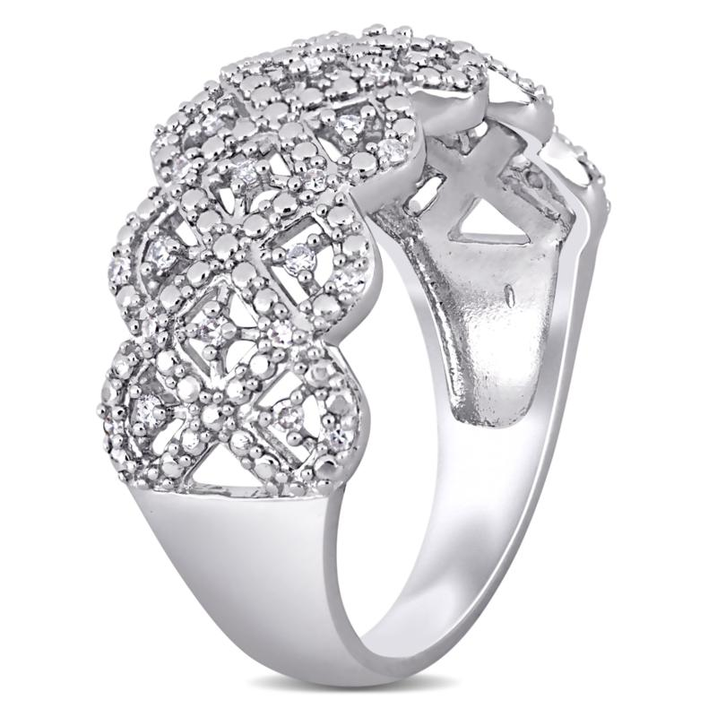 Details about  /Genuine Pave Diamond Ring 925 Sterling Silver Oxidized Jewelry Rings H40