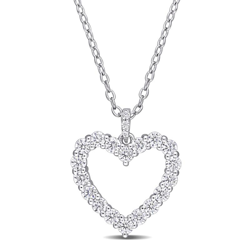 Sterling Silver 0.55ctw Created Moissanite Open Heart Pendant