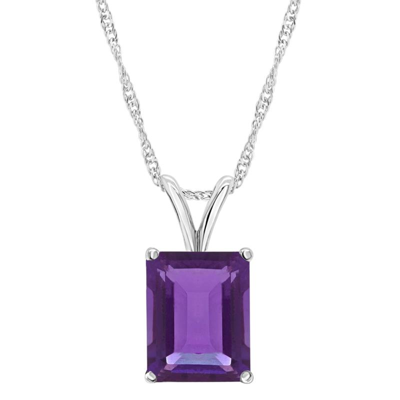 Sterling Silver 14x10mm Emerald-Cut Amethyst Pendant with Chain