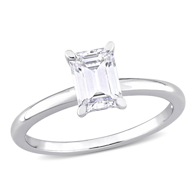 Sterling Silver 1ctw Created Moissanite Emerald-Cut Solitaire Ring