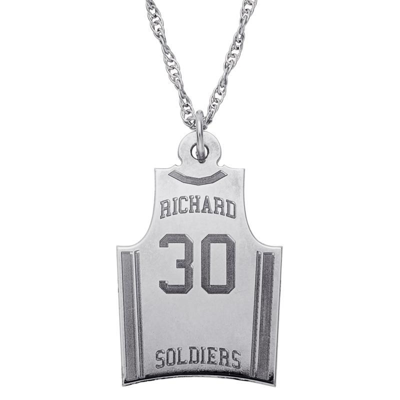 Sterling Silver Basketball Jersey Necklace