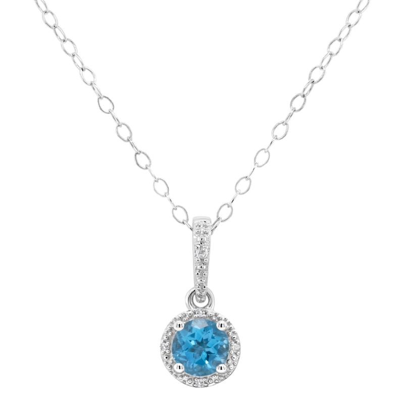 Sterling Silver Gemstone and Diamond Round Pendant with Chain