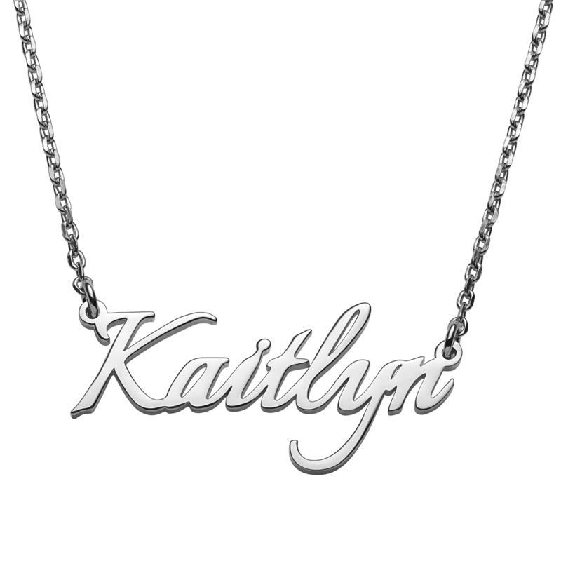 Sterling Silver Petite Fancy Script Name Necklace