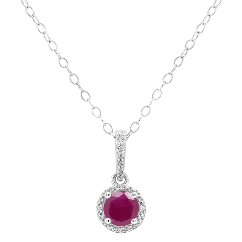 Sterling Silver Precious Gem and Diamond 5mm Round Pendant with Chain