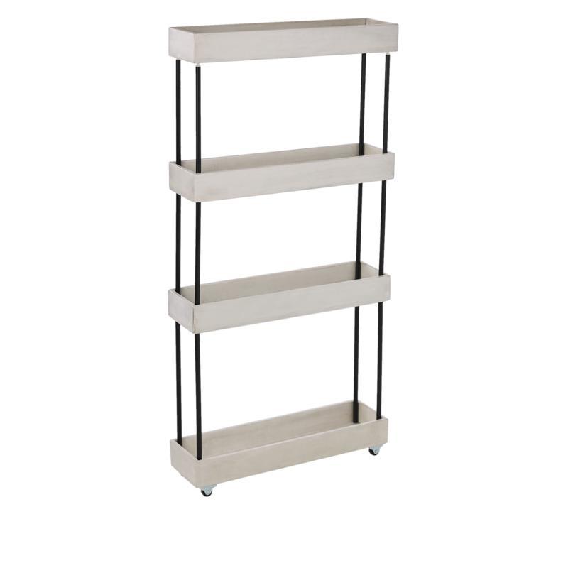 StoreSmith 4 Tier Acacia Wood Slim Shelf with Wheels