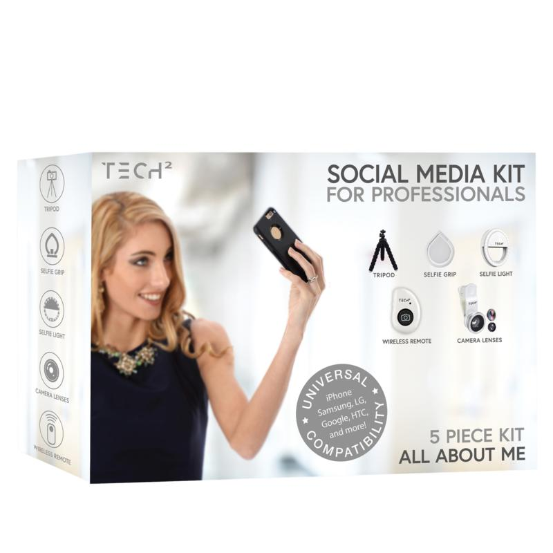 Tech2 5-piece Social Media Kit with Remote, Tripod and 3 Camera Lenses