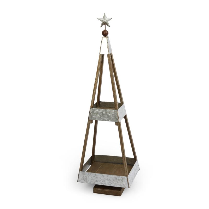 """The Gerson Company 39"""" Wood and Galvanized Metal Holiday Tree"""
