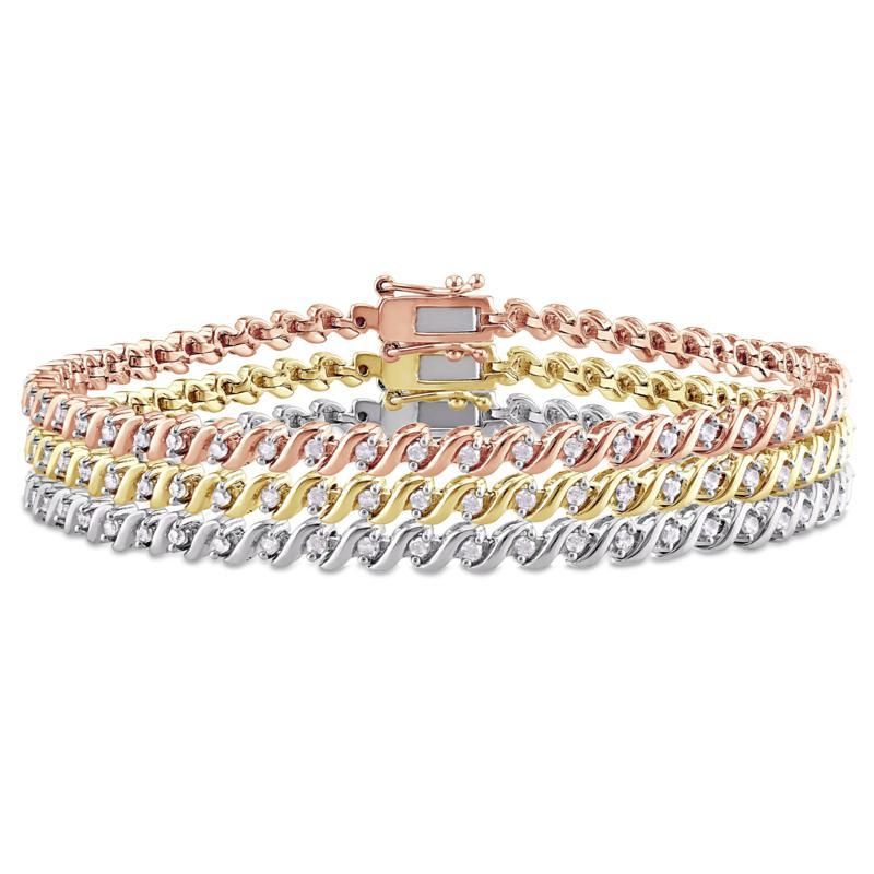 Three-Tone Sterling Silver 1.50ctw Diamond Tennis Bracelet 3-Piece Set