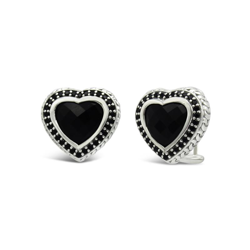 Tiffany Kay Studio Onyx and Spinel Purl Knit Heart Stud Earrings